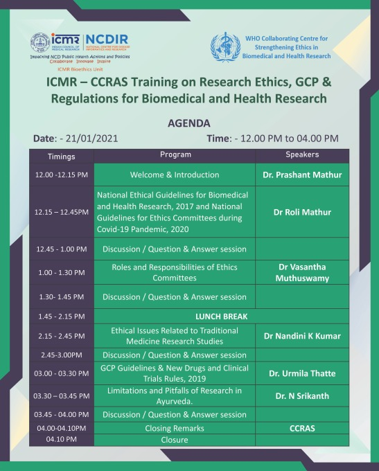 ICMR – CCRAS Training on Research Ethics, GCP & Regulations for Biomedical and Health Research