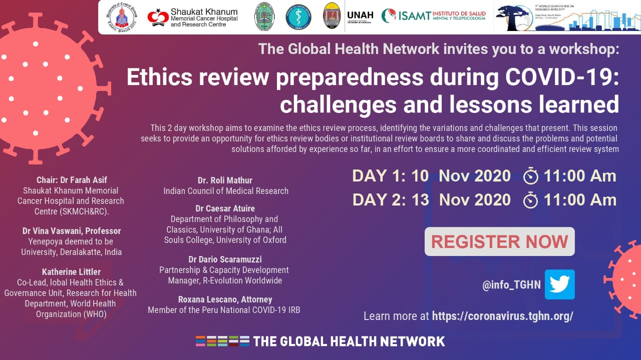 Workshop on 'Ethics Review Preparedness during COVID-19: Challenges and Lessons Learned' by Global Health Network
