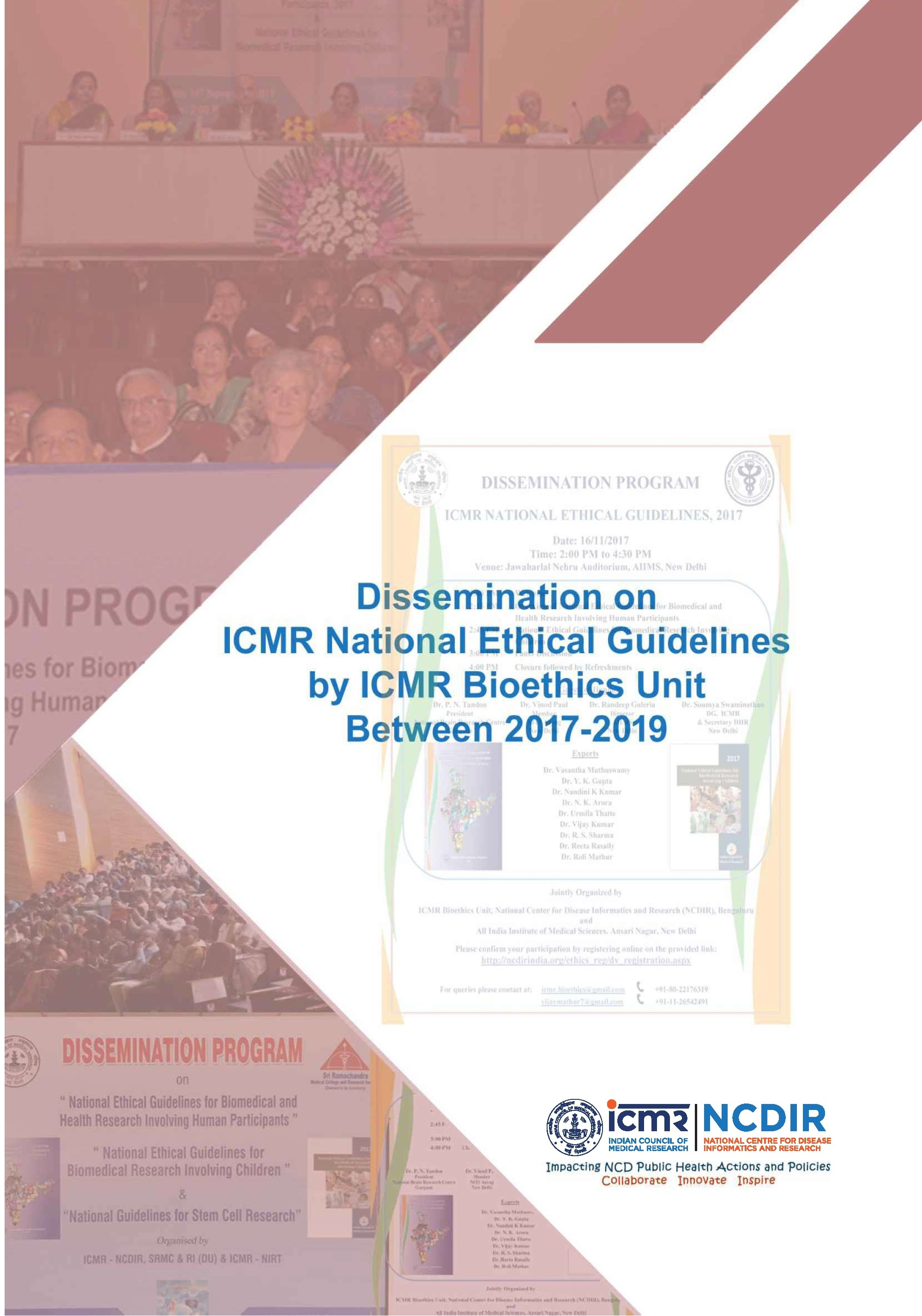 Dissemination Report on ICMR National Ethical Guidelines by ICMR Bioethics Unit,2020