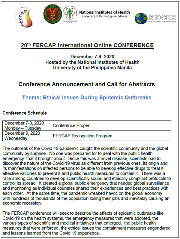 "20th FERCAP International Online Conference hosted by the National Institutes of Health, University of the Philippines, Manila on ""Ethical Issues During Epidemic Outbreaks"""