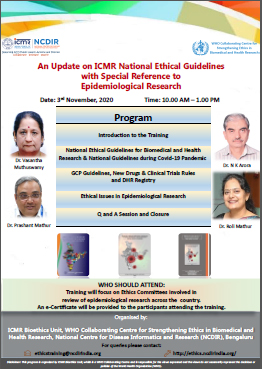 An Update on ICMR National Ethical Guidelines with special reference to Epidemiological Research