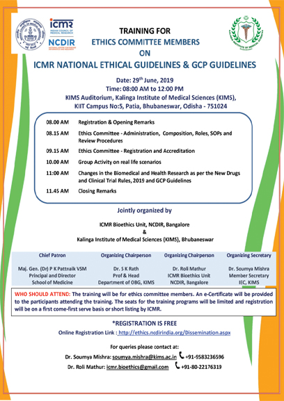 Training for Ethics Committee Members on ICMR National Ethical Guidelines & GCP Guidelines