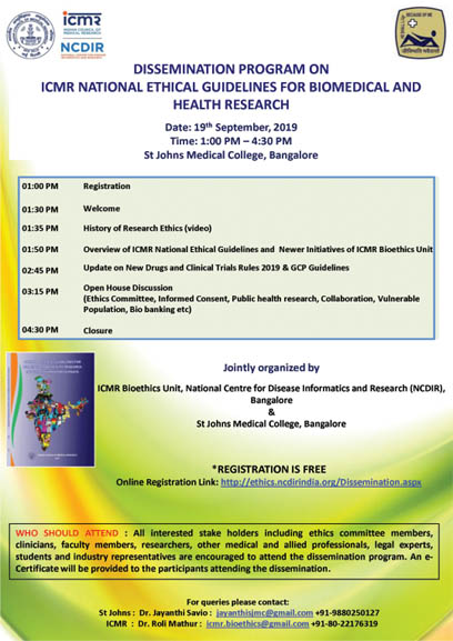 DISSEMINATION PROGRAM ON ICMR NATIONAL ETHICAL GUIDELINES FOR BIOMEDICAL AND HEALTH RESEARCH