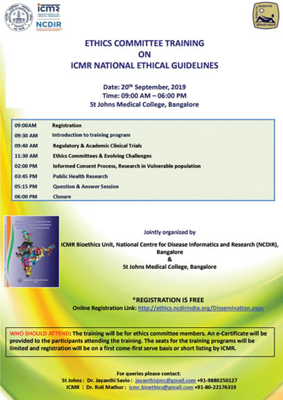ETHICS COMMITTEE TRAINING ON ICMR NATIONAL ETHICAL GUIDELINES