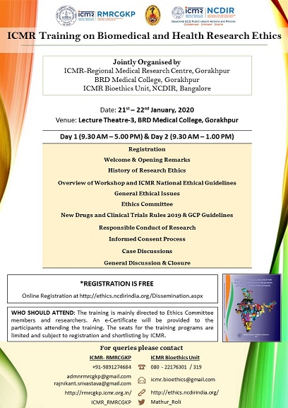 ICMR Training on Biomedical and Health Research Ethics