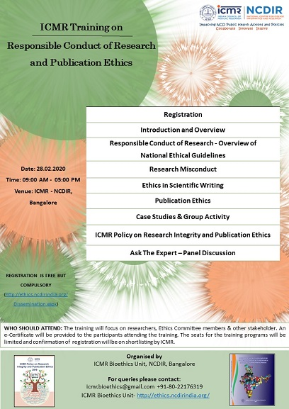 ICMR Training on Responsible Conduct of Research & Publication Ethics